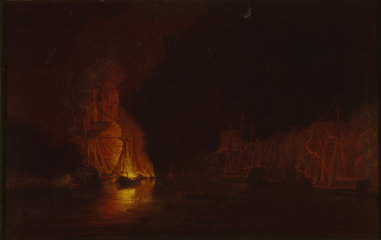 AMERICAN FIRESHIPS IN THE HUDSON, by Dominic Serres