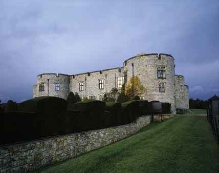 View of the east elevation of Chirk Castle with topiary