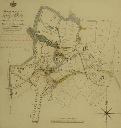 Survey map of the park at Wimpole showing proposed alterations to planting and new drive