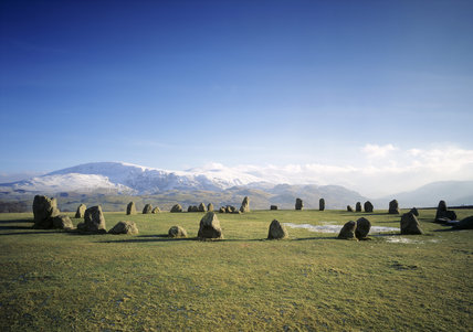 Castlerigg Stone Circle, a free standing megalithic circle of 38 stones with a further 10 inner stones forming an inner rectangle