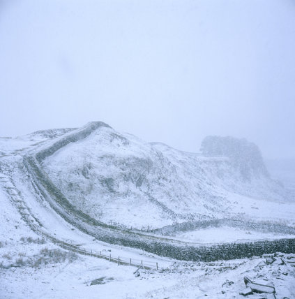 Hadrian's Wall in winter, covered in snow