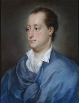 GEORGE WILLIAM, 2ND EARL OF BRISTOL (1721-75) by Anton Raphael Mengs (1728-79), pastel portrait post-conservation, in the West Bedroom at Ickworth