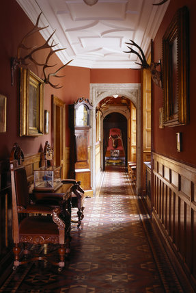 A view of the corridor, showing the tessellated Victorian floor, Lanhydrock