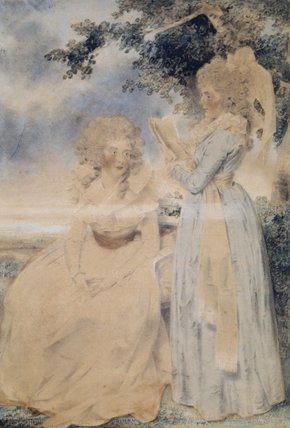 THE TWO DUCHESSES OF DEVONSHIRE by John Downman, post- conservation watercolour at Ickworth