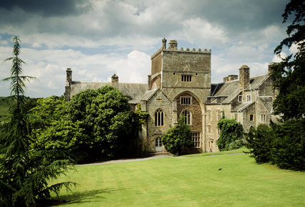 The south front of Buckland Abbey, the roof line of the demolished South Transept is visible