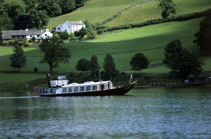 View of Coniston water with the Steam Yacht Gondola
