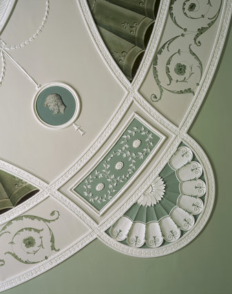 Detail of the plasterwork ceiling in The Boudoir at Belton House, designed by James Wyatt in 1776-1777