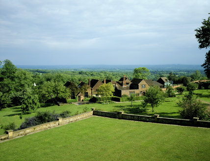 Looking South-East from the balcony at Chartwell towards the Studio and cottages, the view for which Churchill bought the House