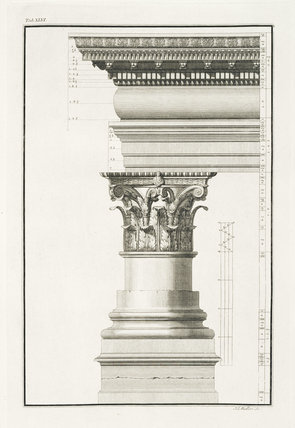 Illustration of a column and capital from The Ruins of Palmyra by Robert Wood (London 1753) in the library collection at Calke Abbey, Derbyshire (London 1753)
