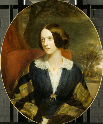 MARIA LOUISA, LADY PENRHYN, (1818-1912), an oval portrait at Penrhyn Castle by Eden Eddis, post-conservation