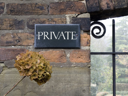 The Private sign near Oak Cottages, the houses built for mill workers at Quarry Bank Mill, Styal
