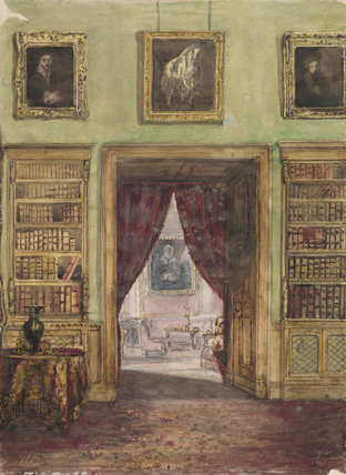 A watercolour of an interior at Belton House in the Study at Belton House