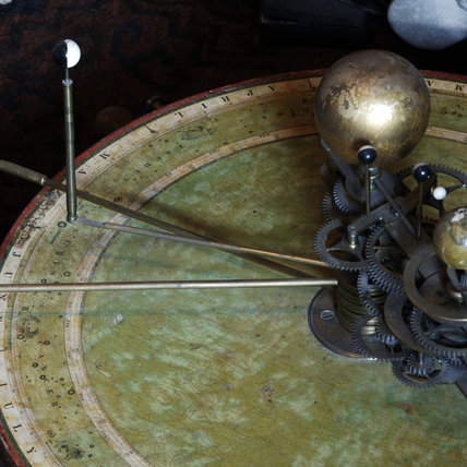 Deatil of part of a planetarium with added tellurium, English, early C19th, in Admiral at Snowshill Manor