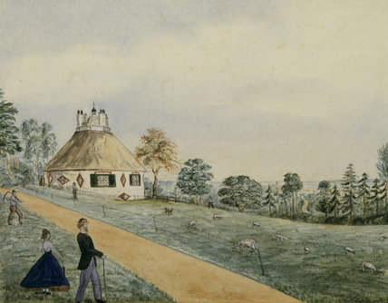 Mid-19th-century child's painting of A la Ronde