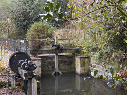 The sluices on the River Bollin at Quarry Bank Mill, Styal