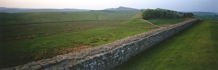 Panoramic view of the Wall leading from Housesteads Roman Fort to Sewingshields Crags, Northumberland