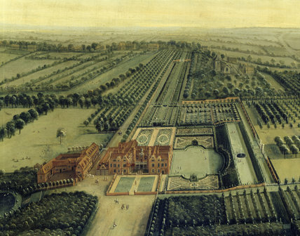 Detail of BIRD'S EYE VIEW OF CLANDON by Leendert Knyff (1650-1722) in The Green Damask Room at Clandon Park