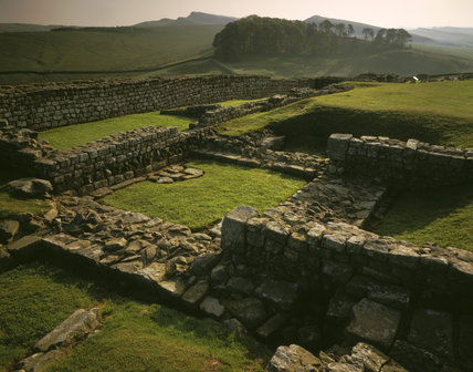 View of a section of the Housesteads Fort, Roman outpost, Northumberland, in the soft sunlight