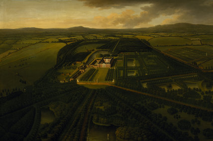 BIRDS-EYE VIEW OF DUNHAM MASSEY FROM THE SOUTH c.1750 by JOHN HARRIS