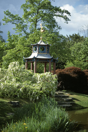 The Chinese Pagoda on an island in the Water Garden at Cliveden