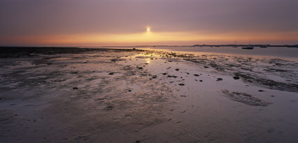 A view of the Blakeney Point landscape at sunset