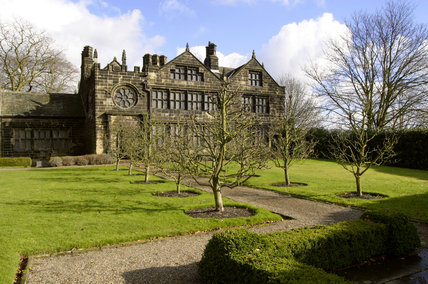 Exterior view of East Riddlesden Hall at Keighley, West Yorkshire, a seventeenth-century manor house