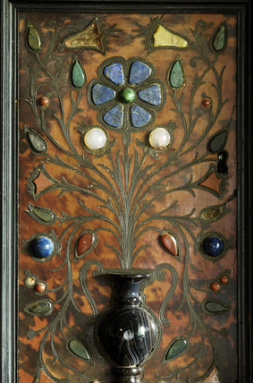 Close view of part of a large cabinet made in China for export to Europe with tortoiseshell and brass inlay and semi-precious stones from Italy, c