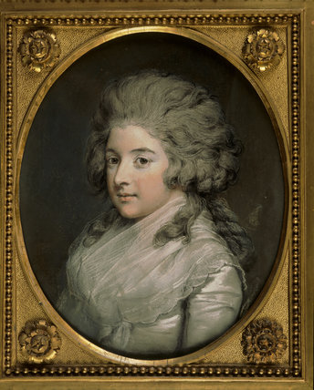MINIATURE PORTRAIT OF LADY HENRIETTA HERBERT, COUNTESS OF POWIS by Hugh Douglas Hamilton (1739-1808), in the Blue Drawing Room at Powis Castle