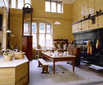 The Kitchen at Cragside, Northumberland showing the Eagle range by H Walker and sons, and roasting fire and ovens by Dinning and Cooke of Newcastle