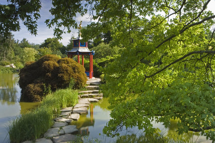 The Japanese pagoda in the Water Garden at Cliveden, Maidenhead, Buckinghamshire