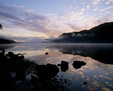 Ullswater at dawn, mist rising, flat calm