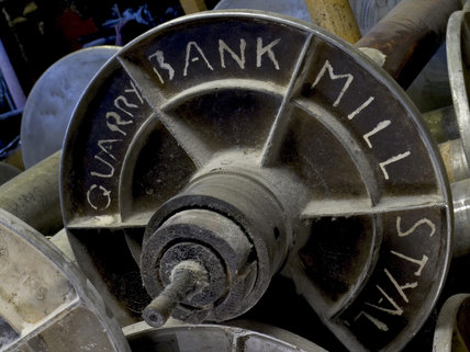 Detail of old machinery and equipment kept in the parts store at Quarry Bank Mill, Styal, for use by engineers working on the cotton-spinning machines