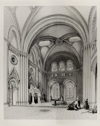 Lithograph of the Grand Hall in 1846 by G. Hawkins with people in Victorian dress, showing the frontispiece to the fireplace, since removed