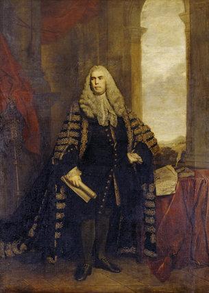 Portrait of Sir John Cust, 3rd Bt, (1718-1770) by Sir Joshua Reynolds PRA (1723-1792), 1767-8, in The Marble Hall at Belton House
