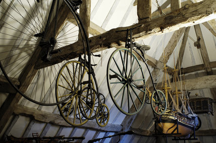 Penny-farthing bicycles, part of the collection of Charles Wade in Hundred Wheels at Snowshill Manor