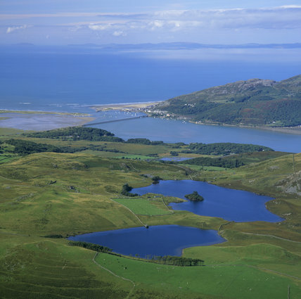 Llynnau Cregennen and Barmouth from high viewpoint with lakes, river estuary & sea