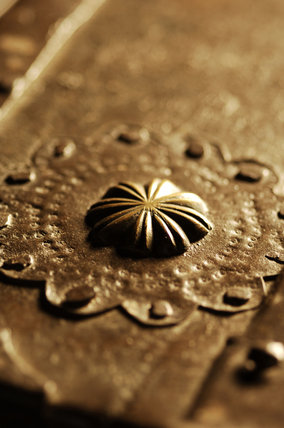 Close view of part of the metalwork on a German strongbox, commonly called the