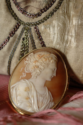 A cameo brooch, part of the jewellery collection at Snowshill Manor, in the room called Occidens