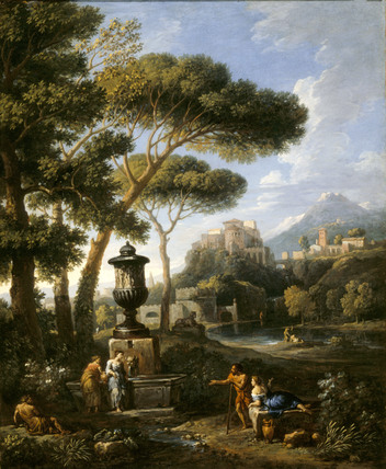 CLASSICAL LANDSCAPE WITH FIVE FIGURES CONVERSING BY A FOUNTAIN TOPPED BY A BIG URN by l'Orizzonte (1662-1749)