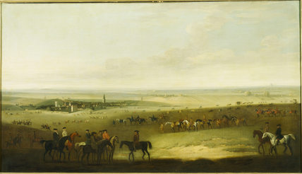 HORSES EXERCISING ON NEWMARKET HEATH attributed to John Wootton