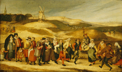 Peasants Dancing By Abel Grimmer At Upton House At