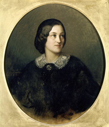 JANE OCTAVIA, DAUGHTER OF SIR CHARLES A ELTON 6th Bt, oil on canvas by Albert Ludovici in the Thackeray Room at Clevedon Court