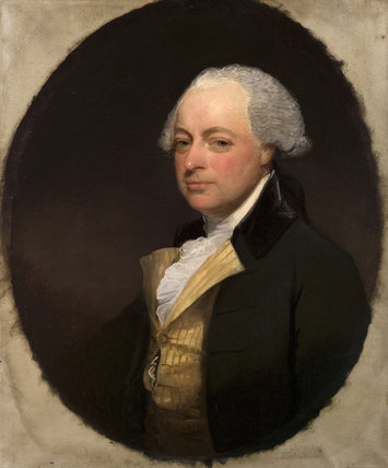 THOMAS ROBINSON, 2ND LORD GRANTHAM, a portrait by Gilbert Stuart in the Library at Saltram.