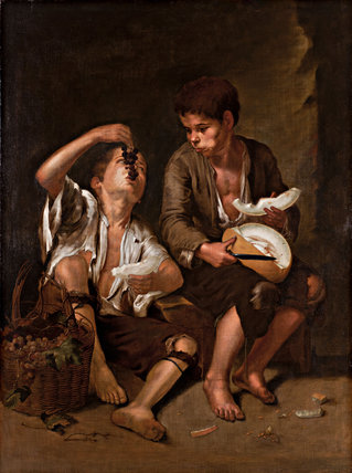 Two Peasant Boys Eating Grapes And Melons After Murillo
