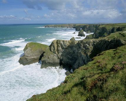 Bedruthan Steps on Cornish coast