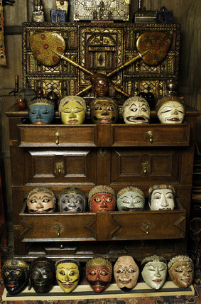 Part of the collection of Javanese and Balinese (Wagang and Topeng) theatre masks in Seraphim, Snowshill Manor, displayed in drawers