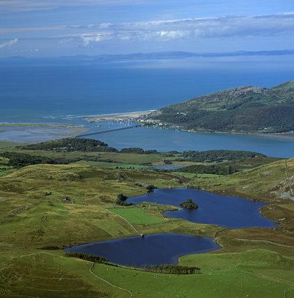 Llynnau Cregennan and a view to Barmouth