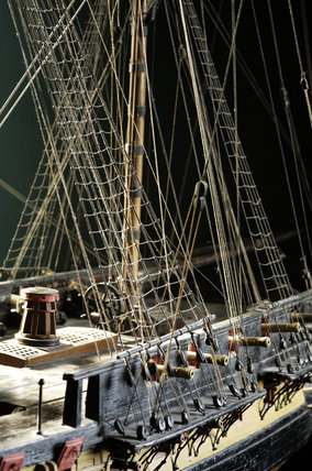 Close view of part of the model of HMS Romulus, built by Adams at Buckler's Hard in December 1777