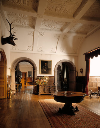 Sunlight streams through the windows of the Outer Hall, created in 1870-71 when Salvin demolished the Little Parlour, the Steward's Room and a passageway