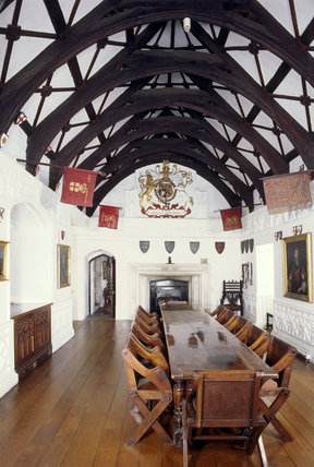 St Michaels Mount, The Chevy Chase Room showing the timbered ceiling and long wooden dining table